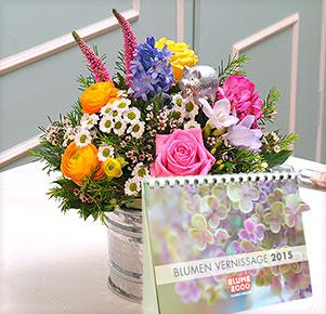 """Happy New Year mit Tischkalender """"Blumen Vernissage 2015"""""""