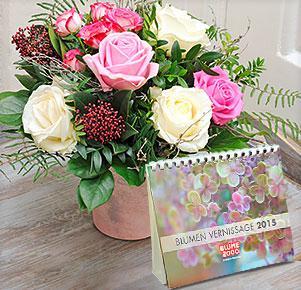 """Schneeflocke mit Tischkalender """"Blumen Vernissage 2015"""""""