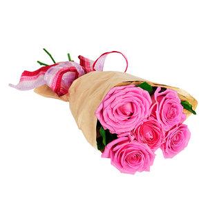 5 pinkfarbene Rosen
