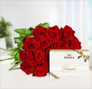 "20 rote Rosen mit Hachez Präsent ""Exquisite"""