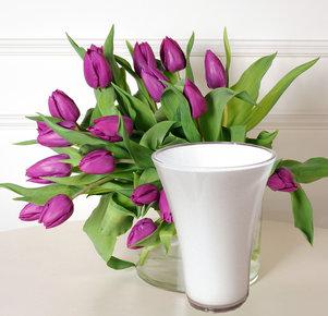 20 lilafarbene Tulpen mit weißer Vase