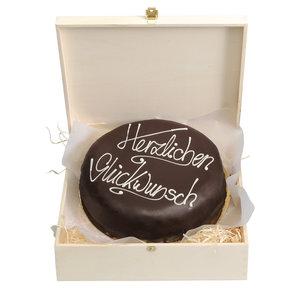 """Schokoladentorte nach Sacher Art """"Herzlichen Glückwunsch"""", 800 g"""