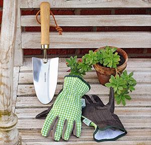 Set Gartenhandschuhe und Blumenkelle