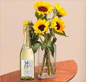 5 Sonnenblumen mit Sekt Jules Mumm