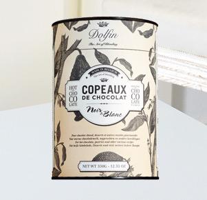 Dolfin Trinkschokolade Copeaux de Chocolat Noir e Blanc