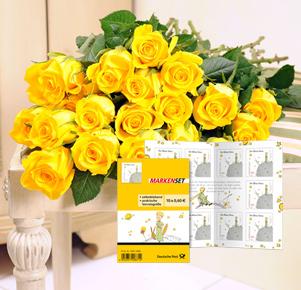 """20 gelbe Rosen mit Briefmarkenset """"Der kleine Prinz"""""""