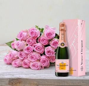 20 pinkfarbene Rosen mit Veuve Clicquot Rosé (0,375 l)