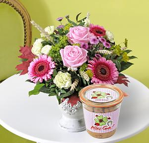 """Pink Lady mit Bio Stracciatella Kuchen """"Alles Gute"""""""
