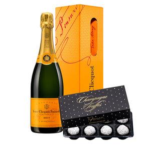 Veuve Clicquot (0,75l) mit Champagne Truffes Pralinen