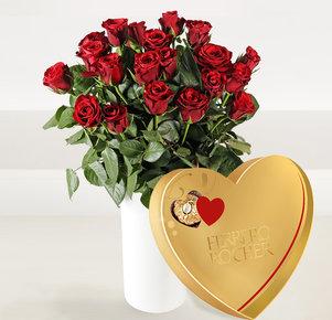 "20 Rote Rosen ""Red Calypso®"" mit Ferrero Rocher Herz 125 g"