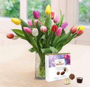"""20 bunte Tulpen mit Hachez Pralinen """"Happy Birthday"""" 85g"""