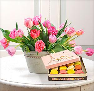 20 rosafarbene gefüllte Tulpen mit Macarons