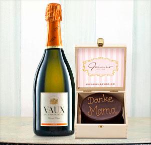 "Feine Mini Sachertorte ""Danke Mama"" mit Sekt Cuveé VAUX Brut"