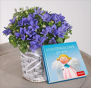 """Glockenblume im Körbchen mit Buch """"Schutzengelchen"""""""