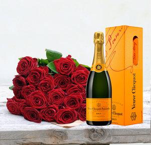 20 rote Rosen mit Veuve Clicquot