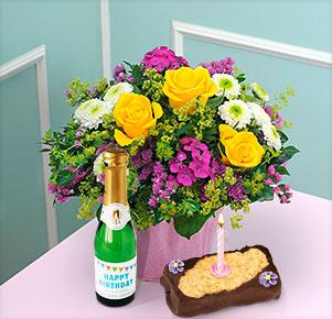 Sommerfrische mit Happy Birthday Sekt und Geburtstagstörtchen