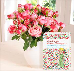 """10 Rosen """"King Arthur®"""" mit Buch """"Der kleine Prinz"""""""