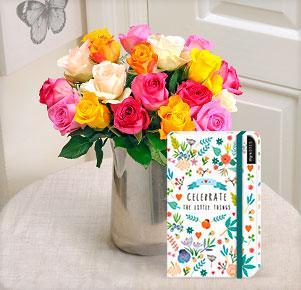 "20 bunte Rosen mit Notizbuch ""Celebrate the Little Things"""