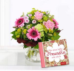 """Pink Lady mit Buch """"Für eine tolle Freundin wie dich"""""""