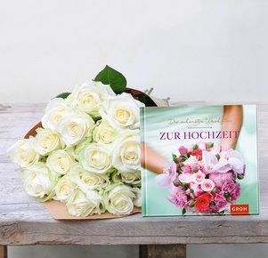"""20 weiße Rosen mit Buch """"Die schönsten Weisheiten zur Hochzeit"""""""