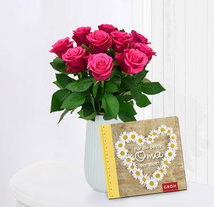 """10 pinke Rosen mit Buch """"Für die beste Oma der Welt"""""""