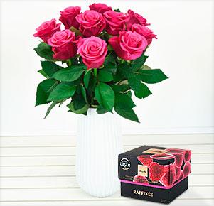 10 pinke Rosen mit Himbeeren in weißer Schokolade