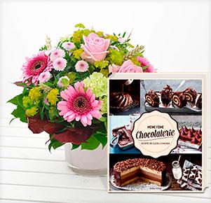 """Pink Lady mit Buch """"Meine feine Chocolaterie"""""""