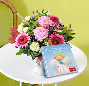 """Pink Lady mit Buch """"Schutzengelchen für Dich"""""""