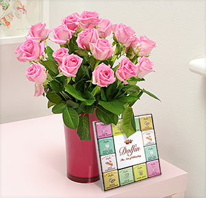 20 pinkfarbene Rosen mit Dolfin Schokolade Carré Épices