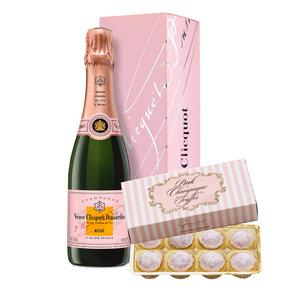 Veuve Clicquot Rosé (0,375l) mit Pink Champagne Truffes Pralinen
