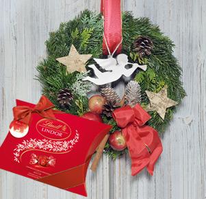"""Türkranz """"Welcome Home"""" mit Lindt Lindor Weihnachtspackung (325g)"""