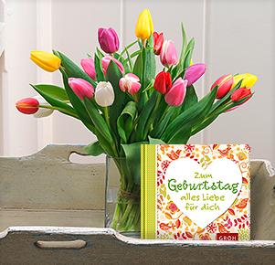"""20 bunte Tulpen mit Buch """"Zum Geburtstag alles Liebe für Dich"""""""