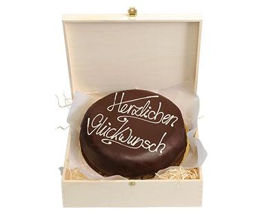 """Schokoladentorte nach Sacher Art 800g  """"Herzlichen Glückwunsch"""""""