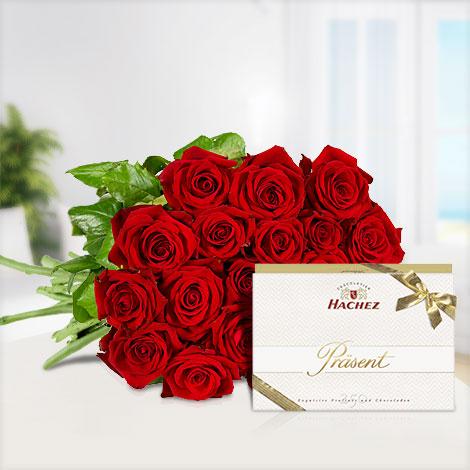 20 rote Rosen mit Hachez Präsent ´´Exquisite´´