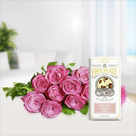 10 Duftrosen ´´Trendy Fragrant®´´ mit weißer Schokolade Sunrise RoseRose