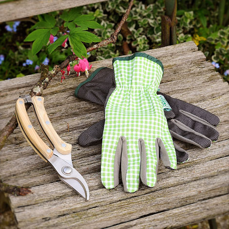 Set Gartenhandschuhe und Gartenschere