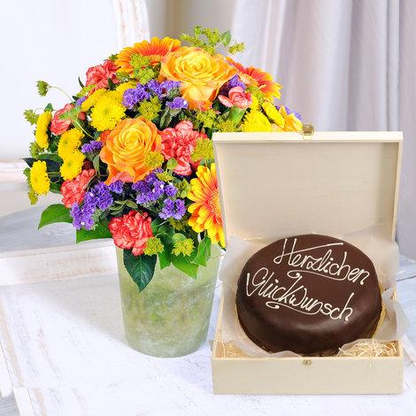 Happy Birthday mit großer Schokoladentorte (800g)