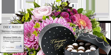 Bouquet rosé mit feinsten Champagne Truffes 250g