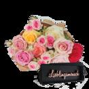 """10 Stiele """"Mellow Roses"""" mit Schriftzug """"Lieblingsmensch"""