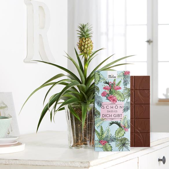 Pflanze Ananas-Pflanze mit Schokolade Schön, dass es dich gibt in Gelb, Rosa und Grün