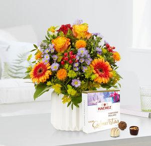 Blumenstrauß Celebration mit Hachez Zum Geburtstag in Rot, Gelb, Orange, Blau und Lila