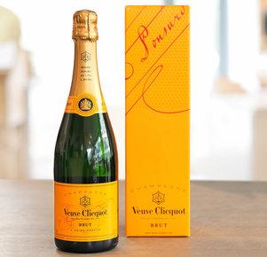 Champagner Veuve Clicquot, 0,375 l in Geschenkverpackung in Orange