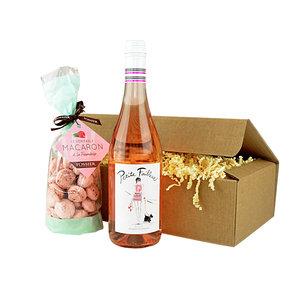 Geschenkset Petite France feine Macaron & Rosèwein in Rosa und Creme