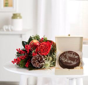 Blumenstrauß Kleine Freude mit Schokoladentorte Glückwunsch in Rot