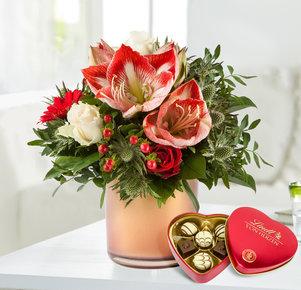 Blumenstrauß Amarylliszauber mit Lindt Herz in Rot und Creme