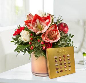 Blumenstrauß Amarylliszauber mit Lindt Mini Pralinés Goldedition in Rot und Creme