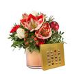 Blumenstrauß  Amarylliszauber mit Lindt Mini Pralinés Goldedition