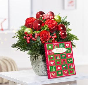 Blumenstrauß Schönste Freude mit Lindt Adventskalender in Rot und Grün