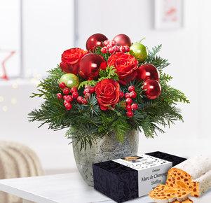 Blumenstrauß Schönste Freude mit Christstollen in Rot und Grün
