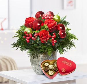 Blumenstrauß Schönste Freude mit Lindt Herz in Rot und Grün